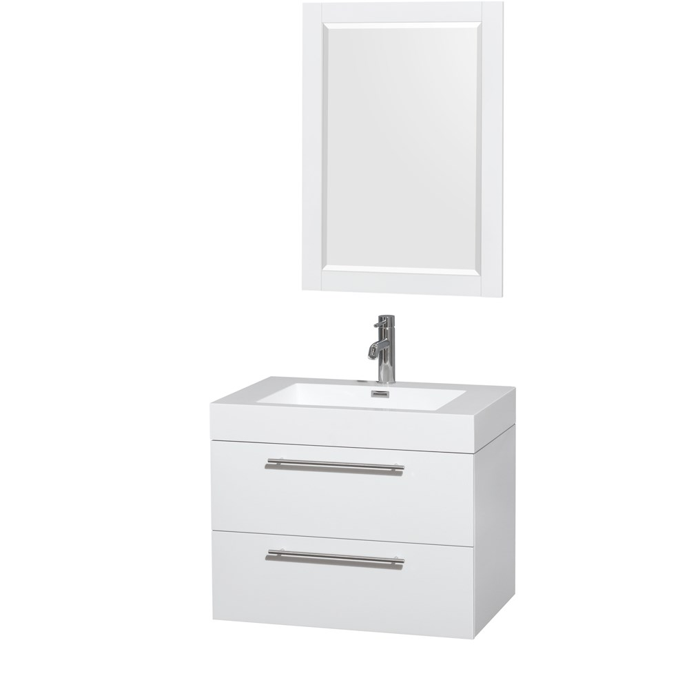 Amare 30 inch Wall Mounted Bathroom Vanity Set with Integrated Sink by Wyndham Collection Glossy White