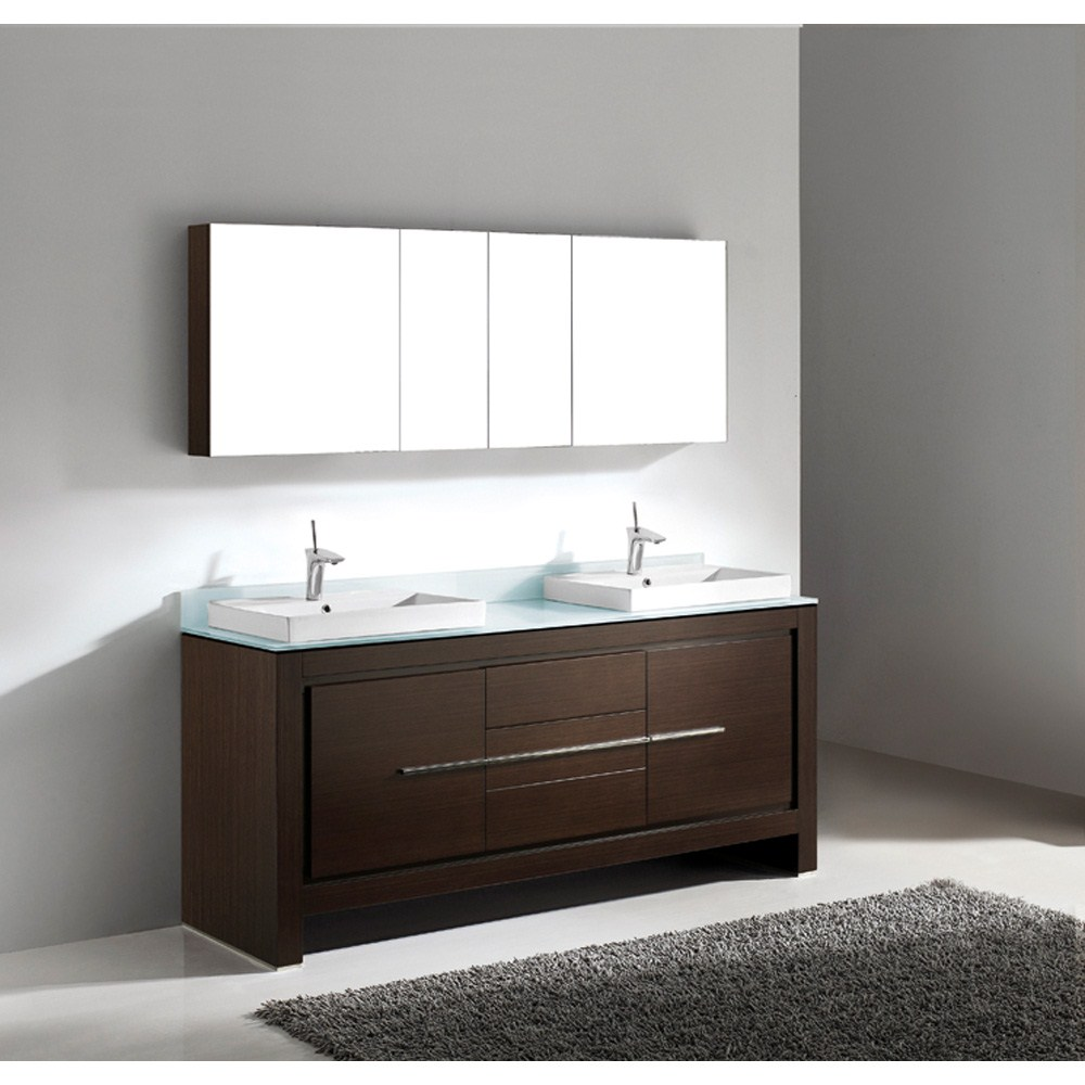 Madeli Vicenza 72 Double Bathroom Vanity Walnut Free Shipping Modern