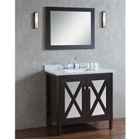 "Seacliff by Ariel Summit 36"" Single Sink Vanity Set with Carrera White Marble Countertop - Espresso SCSUM36SES"
