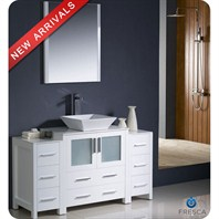 "Fresca Torino 54"" White Modern Bathroom Vanity with 2 Side Cabinets, Vessel Sink, and Mirror FVN62-123012WH-VSL"