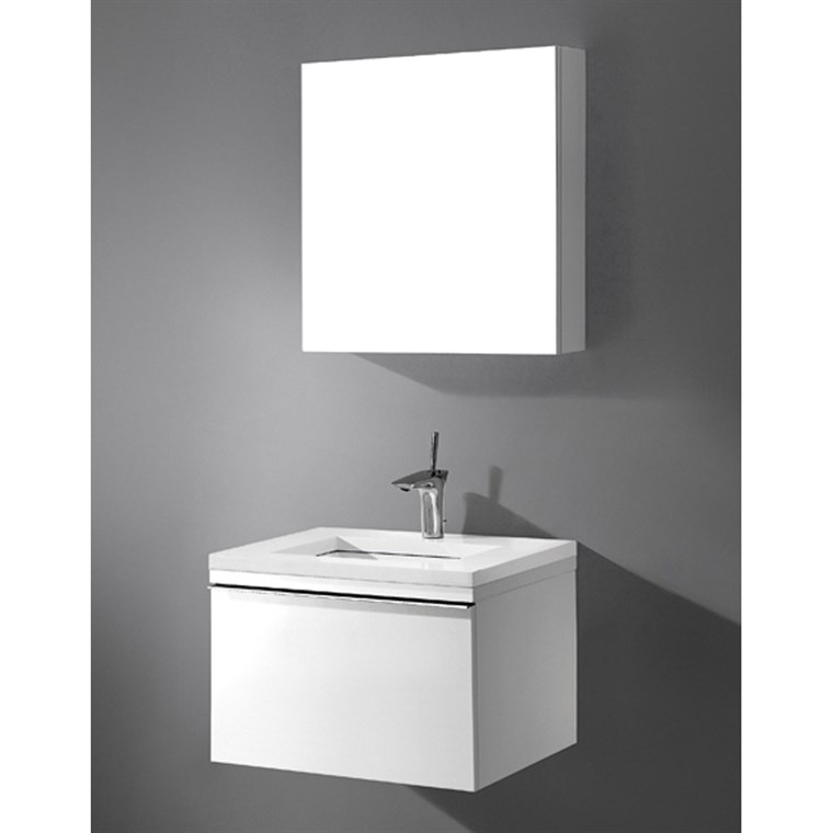 "Madeli Venasca 24"" Bathroom Vanity with Quartzstone Top - Glossy White B990-24-002-GW-QUARTZ"