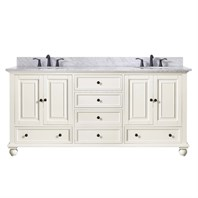 "Avanity Thompson 72"" Double Bathroom Vanity - French White THOMPSON-72-FW"