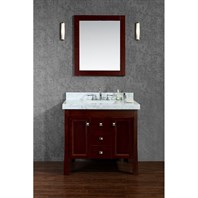 "Seacliff by Ariel Greenbrier 36"" Single Sink Vanity Set with Carrera White Marble Countertop - Walnut SC-GRE-36-SWA"