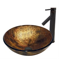 VIGO Copper Shapes Glass Vessel Sink and Dior Faucet Set in Antique Rubbed Bronze Finish VGT378