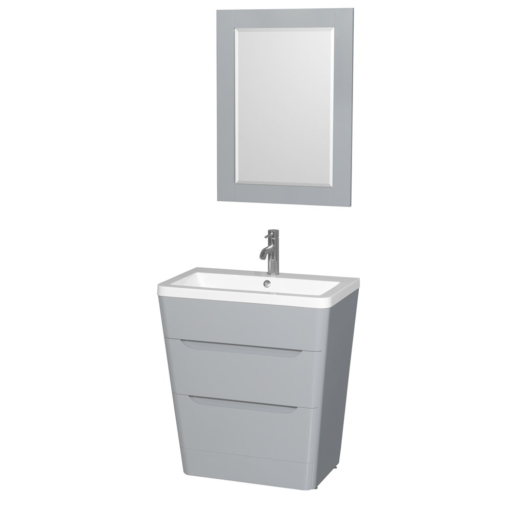 "Caprice 30"" Bathroom Pedestal Vanity Set with Integrated Sink by Wyndham Collection - Gray WC-7778-30-VAN-GRY"