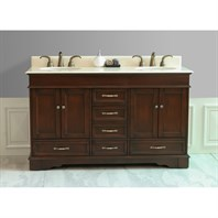 "Virtu USA 60"" Oxford Double Bathroom Vanity - Antique Oak LD-3660-CM-AO"