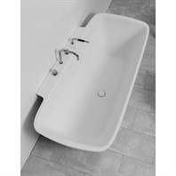 Aquatica Arabella-Wall Freestanding AquaStone Bathtub - White Aquatica Arab-Wall