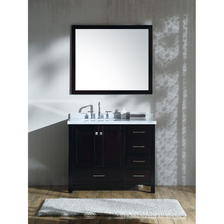 "Ariel Cambridge 43"" Single Sink Vanity Set with Left Offset Rectangle Sink and Carrara White Marble Countertop - Espresso A043S-L-CWR-ESP"