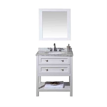 "Stufurhome Marla 30"" Single Sink Bathroom Vanity with Mirror, White HD-6868-30-CR by Stufurhome"