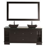 "Design Element Oasis 60"" Double Sink Vanity Set - Espresso DEC105-60"