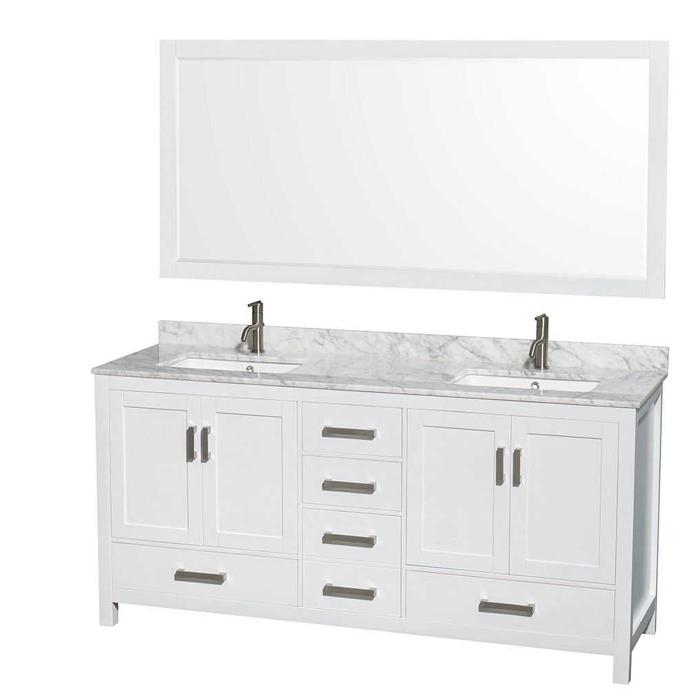 "Sheffield 72"" Double Bathroom Vanity by Wyndham Collection - White 