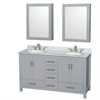 "Sheffield 60"" Double Bathroom Vanity by Wyndham Collection - Gray WC-1414-60-DBL-VAN-GRY"