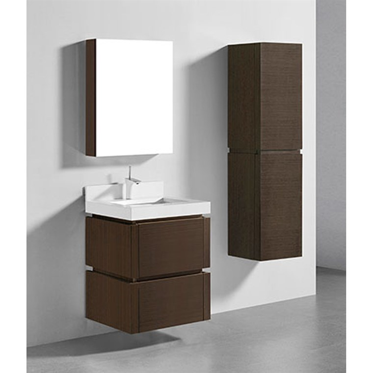 "Madeli Cube 24"" Wall-Mounted Bathroom Vanity for Quartzstone Top - Walnut B500-24-002-WA-QUARTZ"