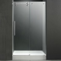 "VIGO 48-inch Frameless Shower Door 3/8"" Frosted/Chrome Hardware Left with White Base - Center Drain VG6041CHMT48LWM"