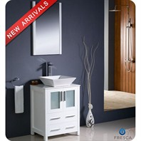 "Fresca Torino 24"" White Modern Bathroom Vanity with Vessel Sink FVN6224WH-VSL"
