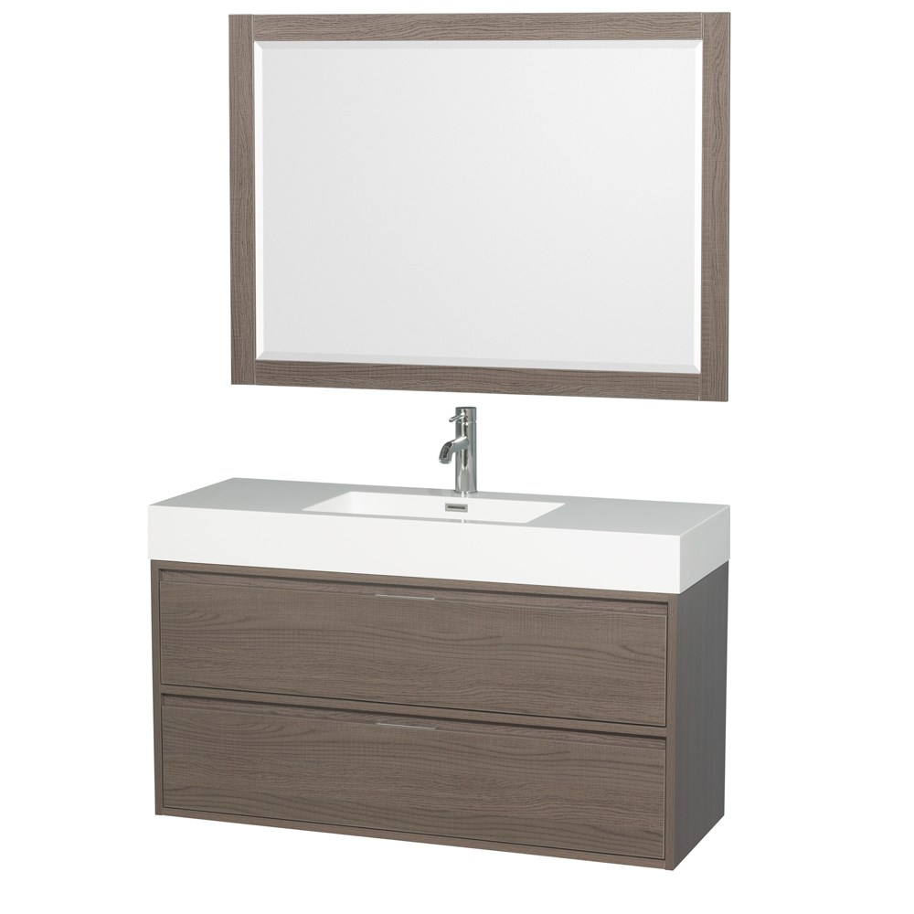 "Daniella 48"" Wall-Mounted Bathroom Vanity Set With Integrated Sink by Wyndham Collection - Gray Oak WC-R4600-48-VAN-GRO"