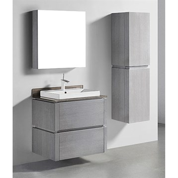 "Madeli Cube 30"" Wall-Mounted Bathroom Vanity for Glass Counter and Porcelain Basin, Ash Grey B500-30-002-AG-GLASS by Madeli"