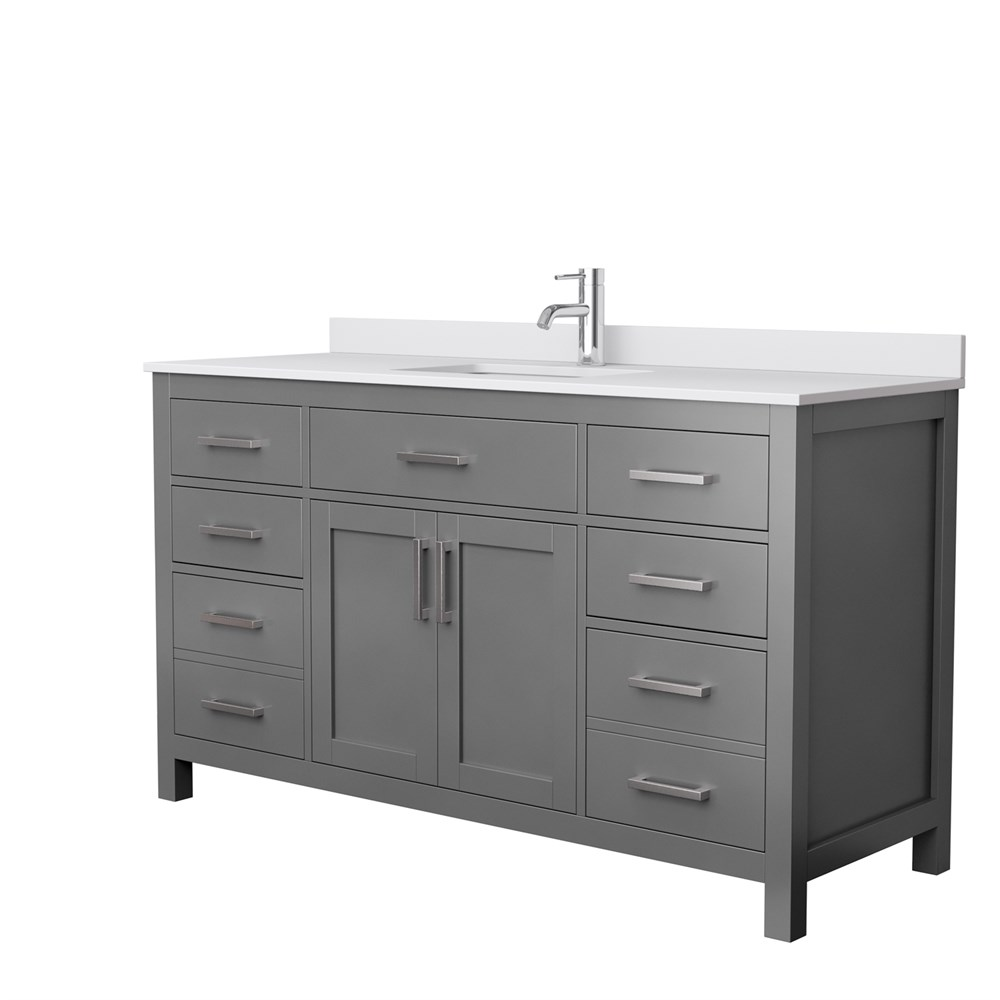 "Beckett 60"" Single Bathroom Vanity in Dark Gray, White Cultured Marble Countertop, Undermount Square Sink, and No Mirror WCG242460SKGWCUNSMXX"