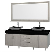 "Malibu 72"" Double Bathroom Vanity Set by Wyndham Collection - Gray Oak Finish with Black Absolute Granite Counter and Black Granite Sinks and Handles WC-CG3000H-72-GROAK-BLK-GR"