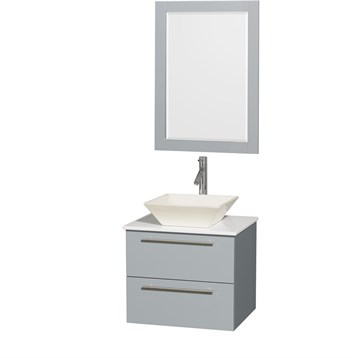 """Amare 24"""" Wall-Mounted Bathroom Vanity Set with Vessel Sink by Wyndham Collection, Dove Gray WC-R4100-24-DVG by Wyndham Collection®"""