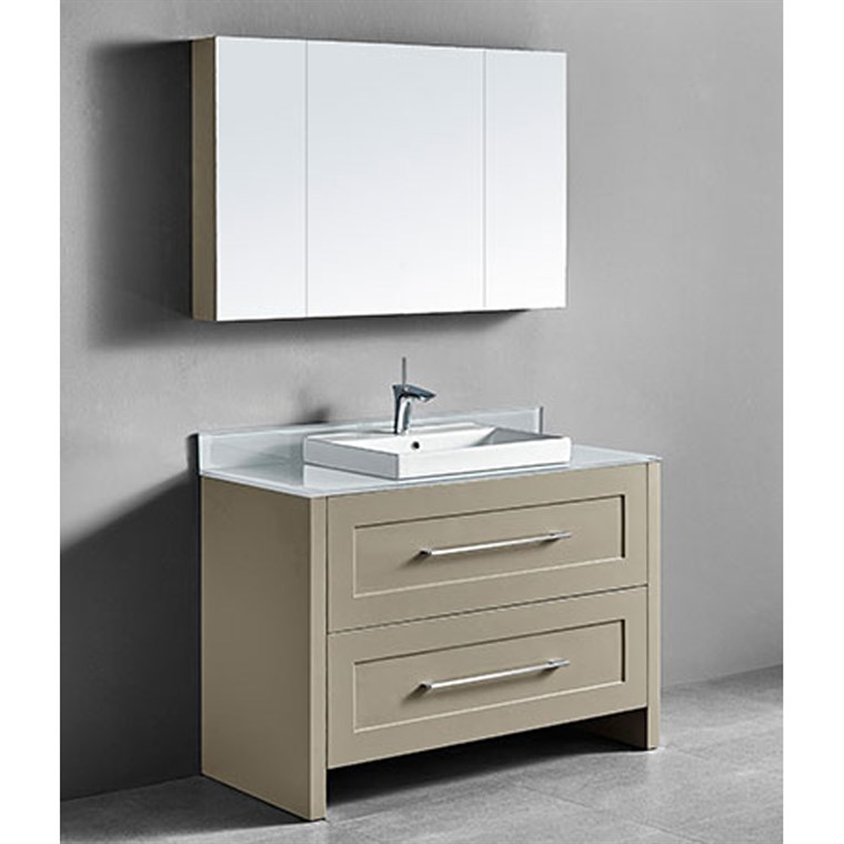 "Madeli Retro 48"" Single Bathroom Vanity for Glass Counter and Porcelain Basin - Cashmere B700-48C-001-CM-GLASS"