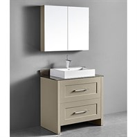 "Madeli Retro 36"" Bathroom Vanity for Glass Counter and Porcelain Basin - Cashmere B700-36-001-CM-GLASS"