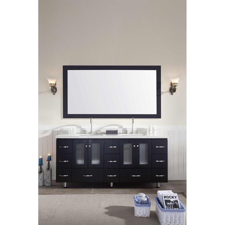 "Ariel Americano 73"" Double Sink Vanity Set with White Quartz Countertop - Black B073D-BLK"
