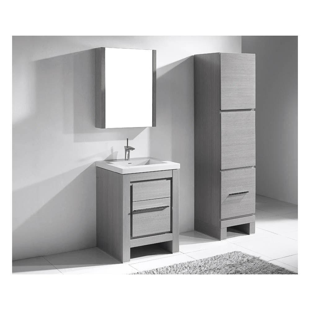 "Madeli Vicenza 24"" Bathroom Vanity For X-Stone - Ash Greynohtin"