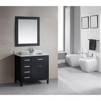 "Design Element London 36"" Single Vanity with Drawers on the Left, White Carrera Countertop, Sink and Mirror - Espresso DEC076D-L-"