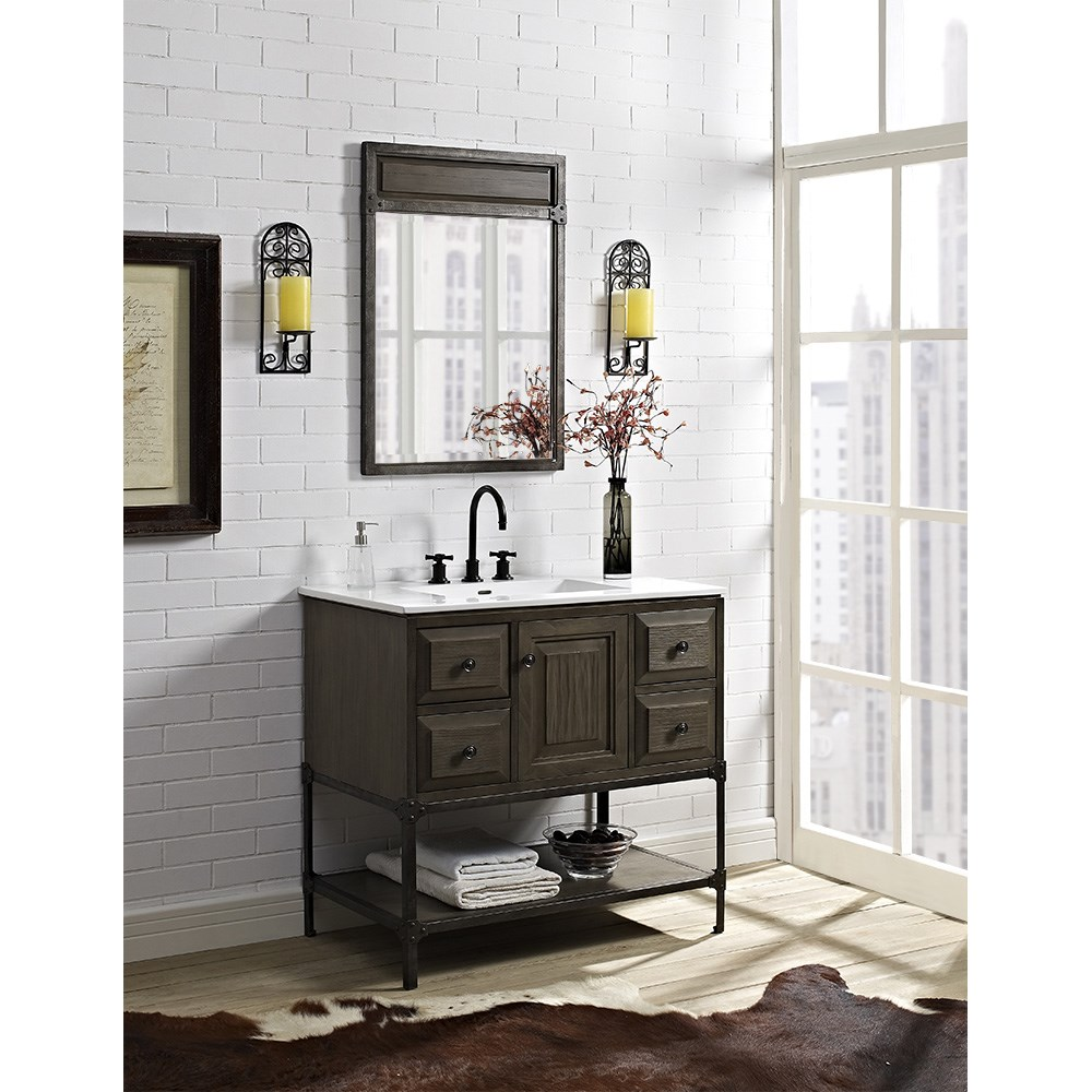 "Fairmont Designs Toledo 36"" Vanity with Doors for Integrated Top - Driftwood Gray 