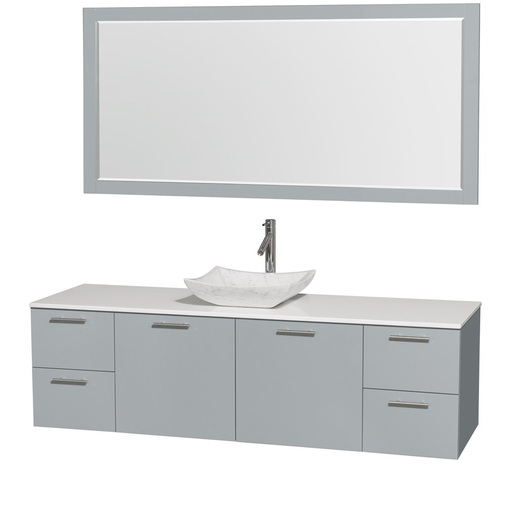 """Amare 72"""" Wall-Mounted Single Bathroom Vanity Set with Vessel Sink by Wyndham Collection - Dove Graynohtin Sale $1499.00 SKU: WC-R4100-72-DVG-SGL :"""