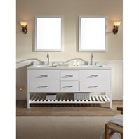 "Ariel Shakespeare 73"" Double Sink Vanity Set with Pure White Cultured Marble Countertop - White G073D-WHT"