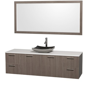"""Amare 72"""" Wall-Mounted Single Bathroom Vanity Set with Vessel Sink by Wyndham Collection, Gray Oak... by Wyndham Collection®"""