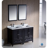"Fresca Oxford 48"" Traditional Double Sink Bathroom Vanity - Espresso FVN20-2424ES"