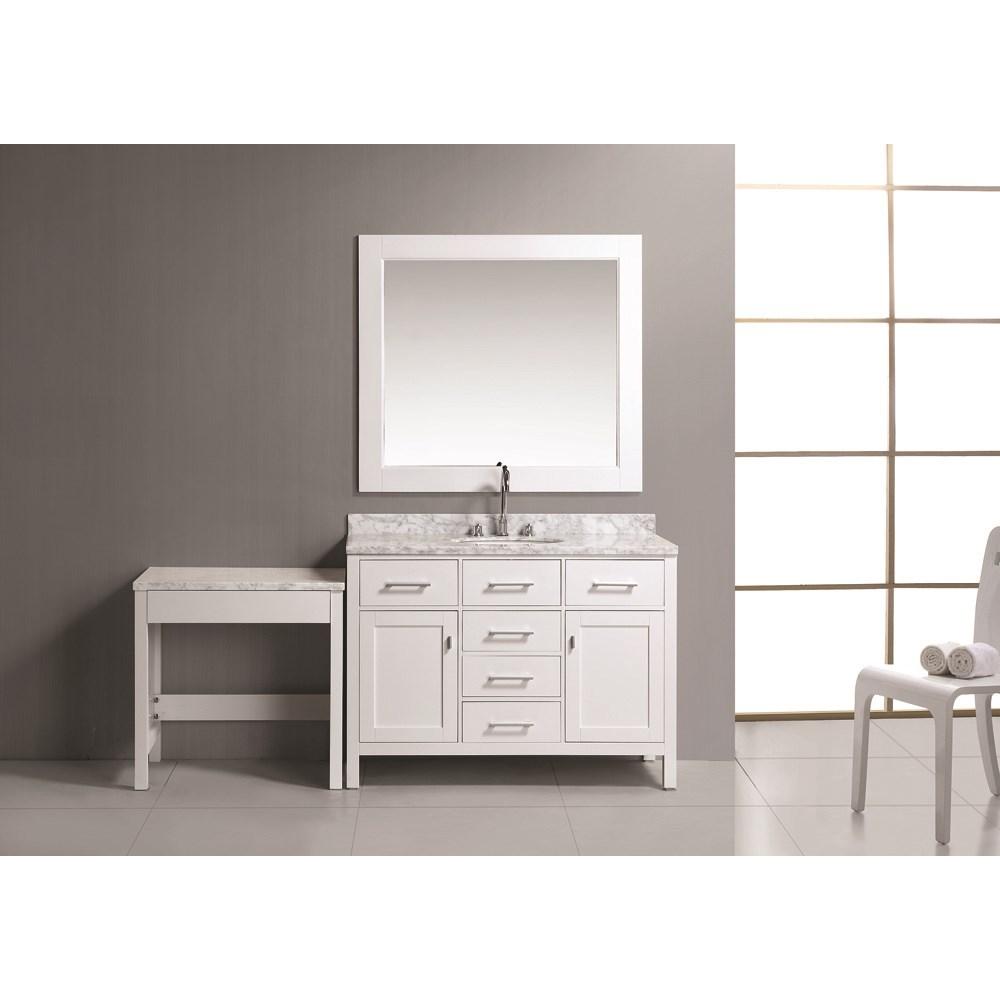 "Design Element London 48"" Bathroom Vanity Set with Make-up Table - Whitenohtin Sale $1799.00 SKU: DEC076C-W_MUT-W :"