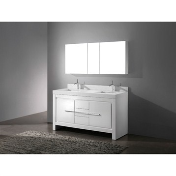 "Madeli Vicenza 60"" Double Bathroom Vanity with Quartzstone Top, Glossy White B999-60CD-001-GW-QUARTZ by Madeli"