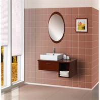 Bath Authority DreamLine Wall-Mounted Modern Bathroom Vanity with Porcelain Sink and Mirror Complete Bath Vanity Set - Red Oak DLVRB-134-RO