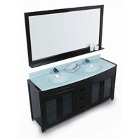 "Design Element Waterfall 60"" Double Sink Vanity Set - Espresso DEC016A"