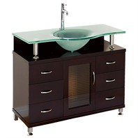 "Accara  36"" Bathroom Vanity with Drawers - Espresso w/ Clear or Frosted Glass Counter"