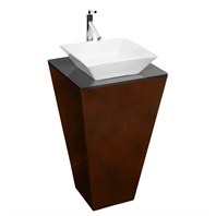 Esprit Custom Bathroom Pedestal Vanity Set by Wyndham Collection - Espresso w/ Pyra Vessel Sink WC-CS004-20-ESP-WHT