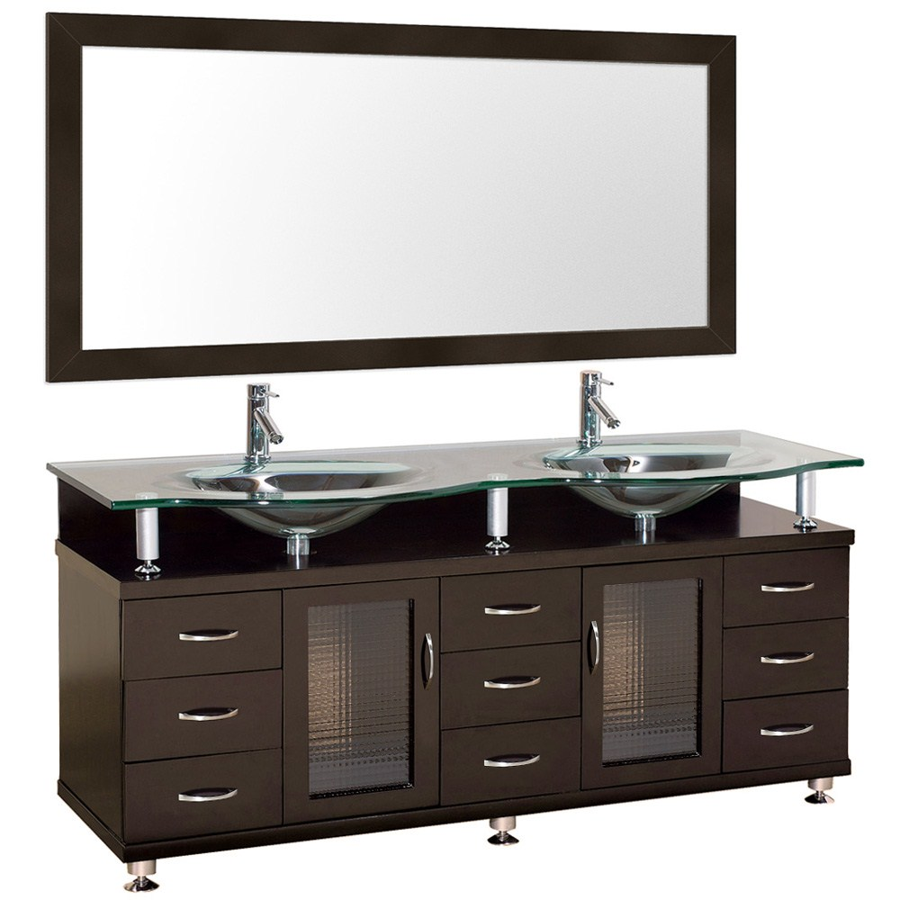"Accara 72"" Double Bathroom Vanity with Mirror - Espresso w/ Clear or Frosted Glass Counter B706D-72-ESP Sale $1499.00 SKU: B706D-72-ESP :"