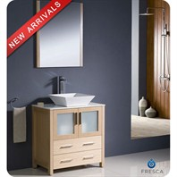 "Fresca Torino 30"" Light Oak Modern Bathroom Vanity with Vessel Sink and Mirror FVN6230LO-VSL"