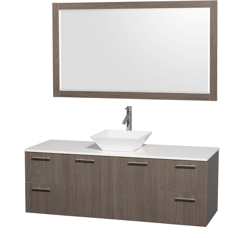 "Amare 60"" Wall-Mounted Single Bathroom Vanity Set with Vessel Sink by Wyndham Collection - Gray Oak WC-R4100-60-VAN-GRO-SGL"