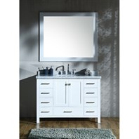 "Ariel Cambridge 49"" Single Sink Vanity Set with Rectangle Sink and Carrara White Marble Countertop - White A049S-CWR-WHT"