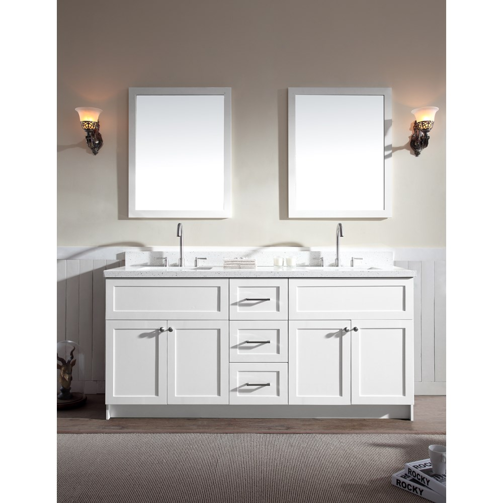 "Ariel Hamlet 73"" Double Sink Vanity Set with White Quartz Countertop in Whitenohtin Sale $1899.00 SKU: F073D-WQ-WHT :"