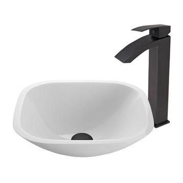 Vigo Square Shaped White Phoenix Stone Vessel Sink and Duris Faucet Set in Matte Black Finish VGT437 by Vigo Industries