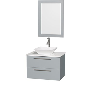 """Amare 30"""" Wall-Mounted Bathroom Vanity Set with Vessel Sink by Wyndham Collection, Dove Gray WC-R4100-30-DVG by Wyndham Collection®"""