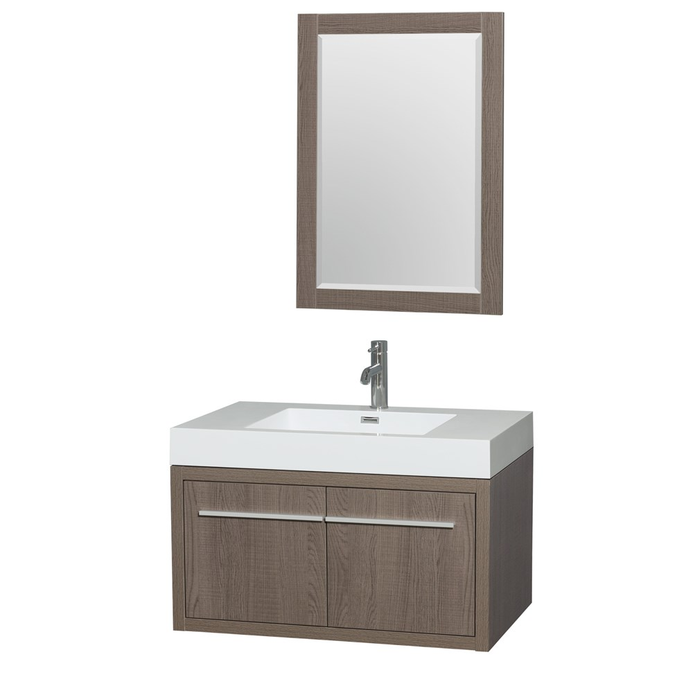 "Axa 36"" Wall-Mounted Bathroom Vanity Set With Integrated Sink by Wyndham Collection - Gray Oaknohtin Sale $999.00 SKU: WC-R4300-36-VAN-GRO :"