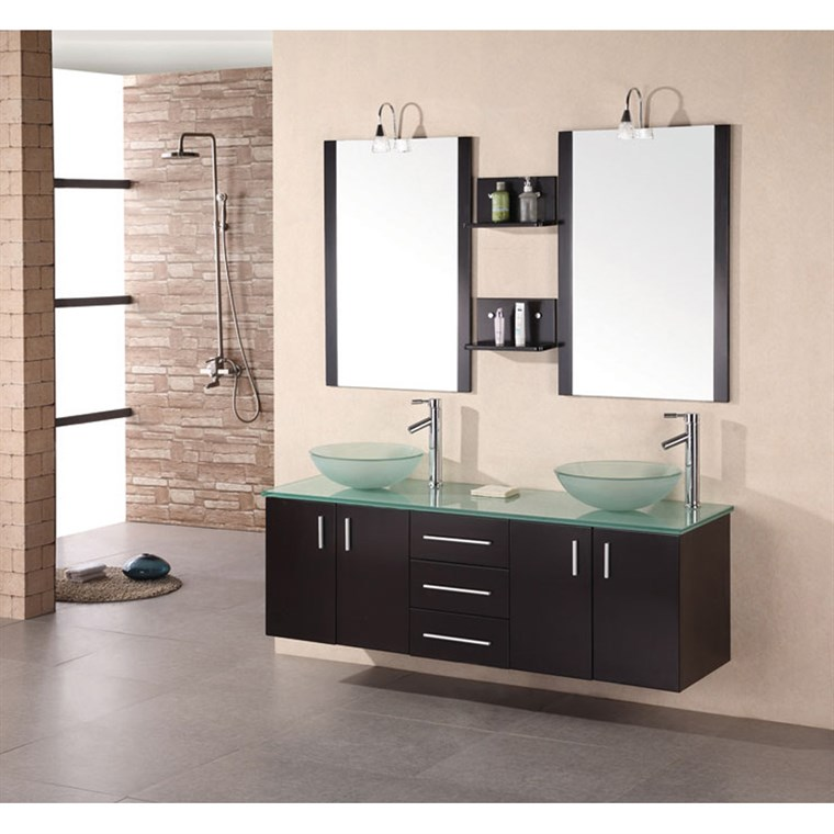 "Design Element Portland 61"" Wall Mount Bathroom Vanity with Vessel Sinks - Espresso DEC005"