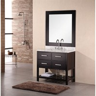 "Design Element London 36"" Bathroom Vanity with Open Bottom, White Carrera Countertop, Sink and Mirror - Espresso DEC077A"